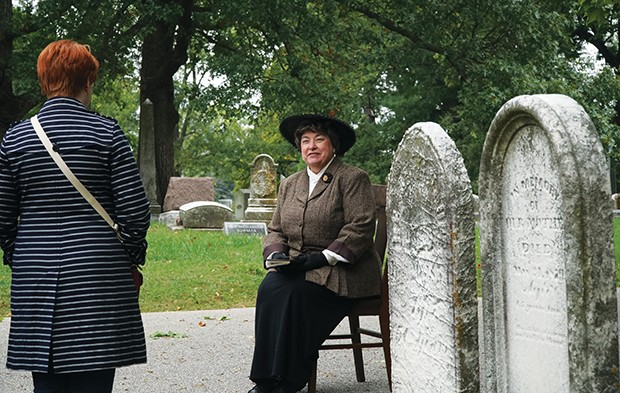 """Linda Schneider has been an actor in many cemetery walks. """"I guess I do a lot of dead people talking,"""" she says. This year Schneider portrays Mary Morrison."""
