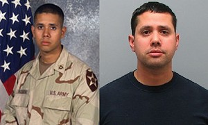 Samuel Rosario as a soldier, left, and an arrestee.