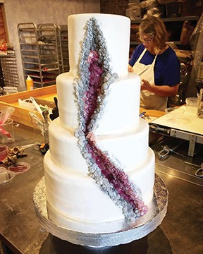 The bride, a geologist, requested this unique geode cake.  PHOTO COURTESY INCREDIBLY DELICIOUS - PHOTO BY INCREDIBLY DELICIOUS