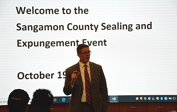 Sangamon County State's Attorney Dan Wright addresses summit participants. - PHOTO BY DAVID BLANCHETTE