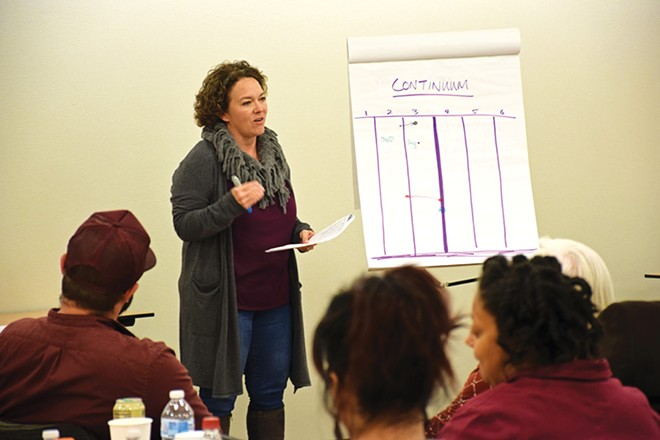 Lisa Miller, a member of Springfield's Hope Church, talks about her church's diversity efforts during a recent seminar for area nonprofit board members. - PHOTO BY DAVID BLANCHETTE