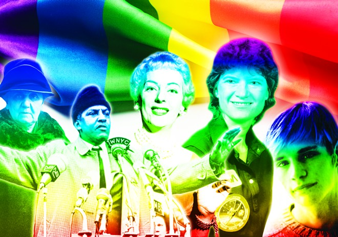 National figures who may soon be recognized in Illinois textbooks for their contributions to LGBT history include, from left, Jane Addams, Bayard Rustin, Christine Jorgensen, Sally Ride and Matthew Shepard. - PHOTO COLLAGE BY BRANDON TURLEY