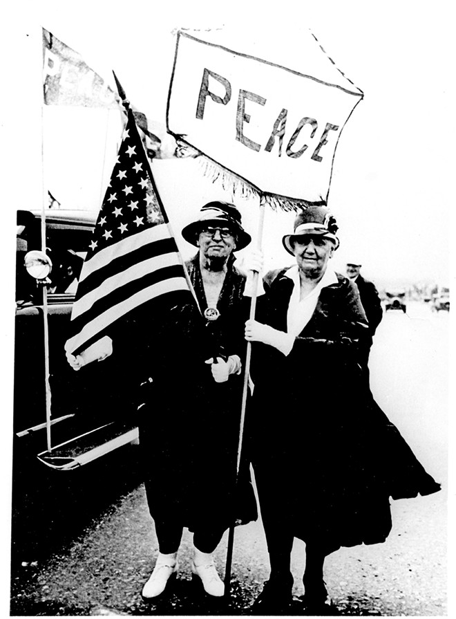 Jane Addams and an unidentified woman during a peace march. - PHOTO BY ALLEN, GORDON, SCHROEPPEL & REDLICH, INC. OF CHICAGO AND COURTESY OF THE ABRAHAM LINCOLN PRESIDENTIAL LIBRARY.