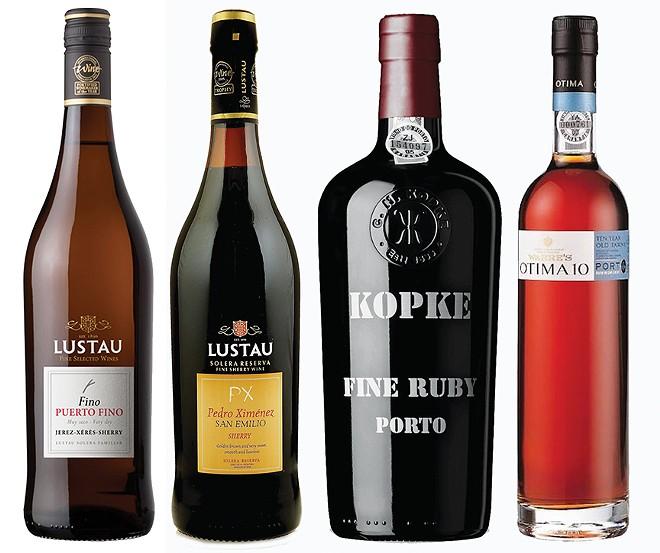 Lustau Fino Puerto Fino Dry Sherry, Lustau Pedro Ximenez (PX) Sweet Sherry, Kopke Fine Ruby Port, Warre's Otima 10 Tawny Port