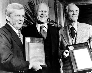 Congressman Paul Findley with Vice President Gerald Ford and Senator Hubert H. Humphrey in December 1974. Plaques commemorate Findley's and Humprhey's leadership with the Famine Prevention Program.