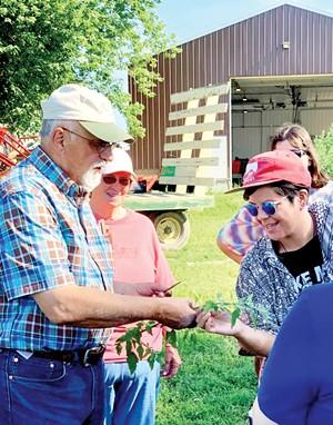 David Bishop on his Atlanta, Illinois, farm with visiting chefs and bakers. - PHOTO COURTESY DAVID BISHOP.