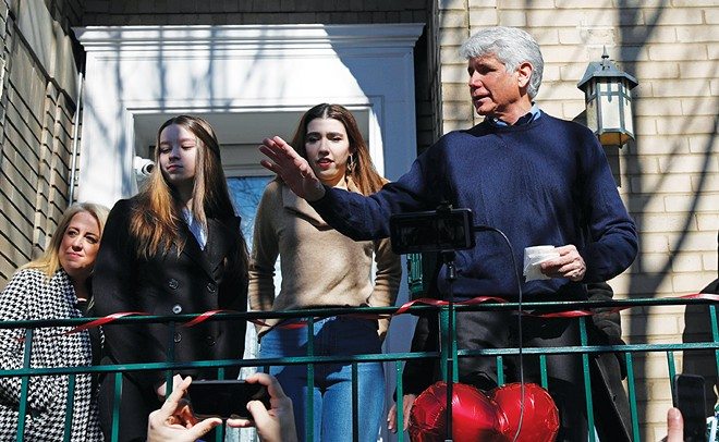 Former Illinois Gov. Rod Blagojevich speaks to the media outside his home in Chicago. - PHOTO BY JOSE OSORIO/CHICAGO TRIBUNE/TNS
