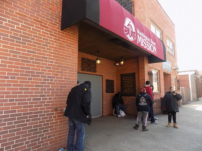 People gather at Washington Street Mission for coffee and a place to escape weather. - PHOTO BY BRUCE RUSHTON