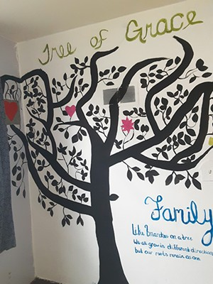 A tree recently painted by Rae and Lynn in the Grace House in 2020. - PHOTO COURTESY DANA PFEIFFER.