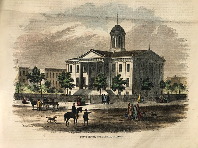 A lithograph of the Capitol Building, where Douglass spoke. The building is now the Old State Capitol. - ILLINOIS STATE HISTORICAL SOCIETY