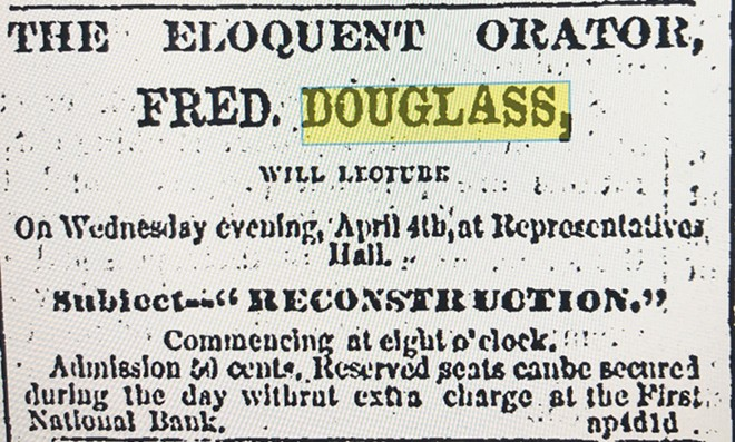 Newspaper ad announced Douglass' Springfield lecture on April 4, admission 50 cents. - ILLINOIS STATE HISTORICAL SOCIETY