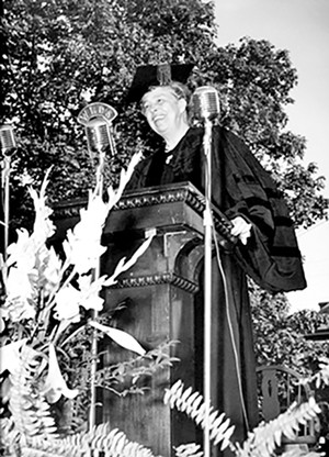 Former First Lady Eleanor Roosevent giving the Commencement Address on May 25, 1947. - PHOTO COURTESY MAC MURRAY COLLEGE.