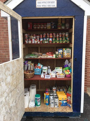 A micropantry outside of Lanphier High School in Springfield. - PHOTO BY KATHARINE EASTVOLD