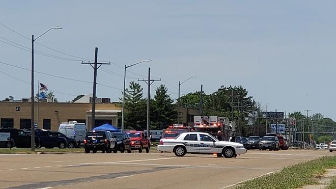 Police respond to the shooting at Bunn.