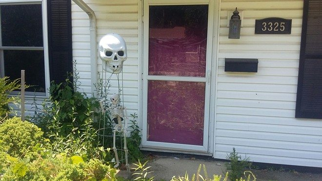 Collins' home in Laketown, where a skull and skeleton were kept on display at the front door. - PHOTO BY BRUCE RUSHTON