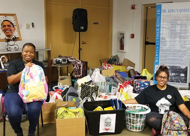 Black Lives Matter Springfield co-founders Khoran Readus (left) and Sunshine Clemons collected several car-fulls of school supplies at a drive on July 25. - PHOTO COURTESY FACEBOOK.COM/BLMSPI
