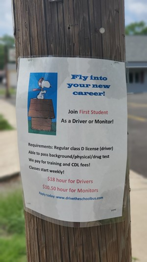 A flyer spotted on the corner of Laurel and State streets advertises openings for bus drivers and monitors. - RACHEL OTWELL