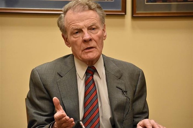 House Speaker Michael Madigan, a Chicago Democrat, is pictured speaking to graduate students in the University of Illinois Springfield's Public Affairs Reporting program last year at the Statehouse. Two more members of Madigan's House Democratic caucus have called on him to resign this week. - LINDSEY SALVATELLI
