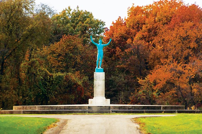Visitors to Allerton Park near Monticello often pose for selfies at the Sun Singer statue of the Greek god Apollo. - PHOTO COURTESY OF THE MONTICELLO CHAMBER OF COMMERCE AND TOURISM