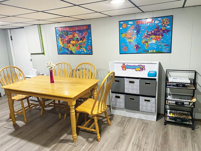 The author transformed her basement into a classroom for remote learning.