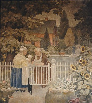 """The East Alton post office features """"The Letter"""" mural depicting two neighbors talking over a white picket fence with a mail carrier in the background."""