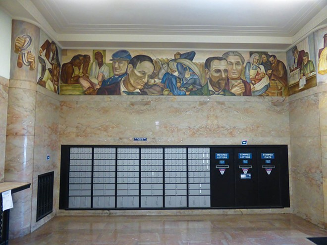 Murals about Illinois history look down on visitors to the downtown Decatur post office. That office has the most Depression-era art of any in Illinois.