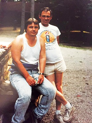 Jerry Bowman (front) and Buff Carmichael at a death penalty protest in Indiana in 1993. - PHOTO COURTESY OF CARMICHAEL