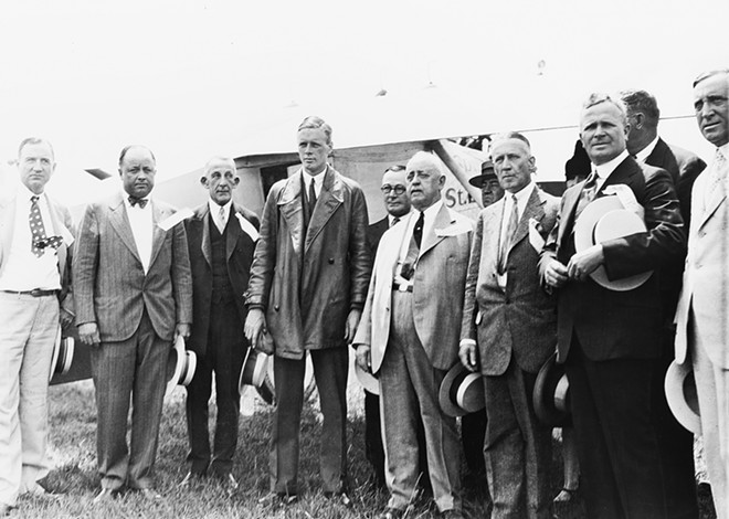 Charles Lindbergh, third from left, visited Springfield for the dedication of Lindbergh Field, Aug. 15, 1927. - He stayed in a home on South Fourth Street, near Susan Lawrence Dana's residence.