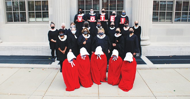 On Oct. 17, activist women, including members of the Springfield chapter of the League of Women Voters, staged a photo outside of the federal courthouse to honor the late Supreme Court justice Ruth Bader Ginsburg, and encourage people to vote. Updated clarification: The shoot was a project of the Resistor Sisterhood, based in Springfield, and was not an official function of the LWV. - PHOTO BY DOCTOR MISTER DREAMER