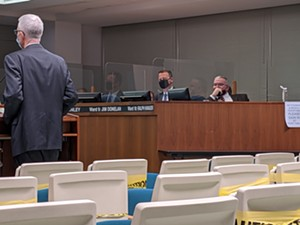 While Ward 9 Ald. Jim Donelan exhibits proper mask wearing, Ward 10 Ald. Ralph Hanauer lets his dangle during Wednesday's meeting at which the council approved fines for people who don't wear masks. - PHOTO BY BRUCE RUSHTON