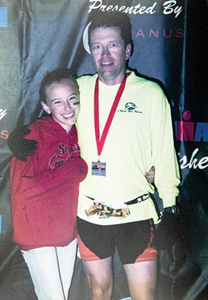 Steve O'Connor with his daughter, Sierra, in 2006 after completing his first triathlon in Panama City, Florida. - PHOTOS COURTESY STEVE O'CONNOR
