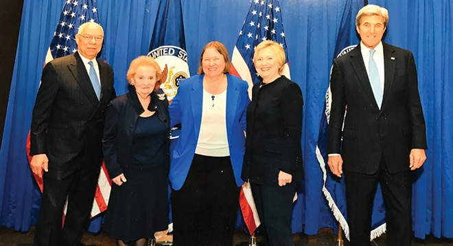 Kathy Johnson stands in the middle of four former U.S. secretaries of state at the National Museum of American Diplomacy in Washington, D.C. - PHOTO COURTESY OF KATHY JOHNSON