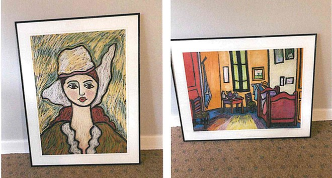 Dozens of paintings by the late folk artist George Colin are stored in August Appleton's law office. - PHOTO COURTESY OF AUGUST APPLETON