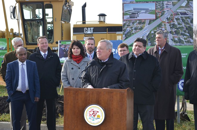 Senator Durbin and other local, state and federal elected officials at the Sixth Street railroad overpass project groundbreaking.