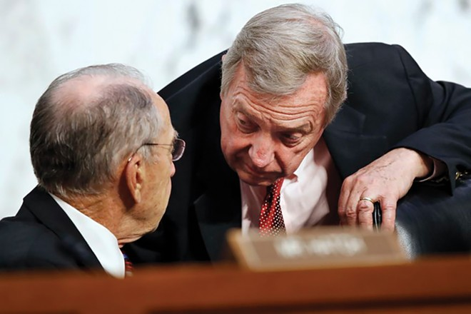 Chuck Grassley and Dick Durbin at Judiciary Committee hearings in 2018. - PHOTO BY JACQUELYN MARTIN