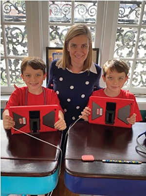 Sara Wojcicki Jimenez has started her own consulting business, in addition to overseeing remote learning for 8-year-old sons Augie and Charlie Jimenez, students at Butler Elementary School. - PHOTO COURTESY SARA WOJCICKI JIMENEZ