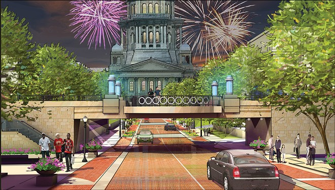 A Capitol Avenue train trestle would be converted to a plaza under a plan drawn up a decade ago.