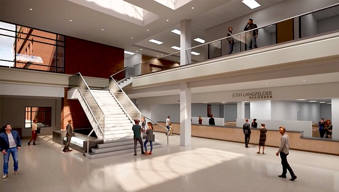 The planned Sangamon County courthouse renovation would feature a staircase and first-floor access to offices.