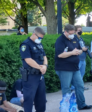 Springfield Police Chief Ken Winslow (right) attending the June 6, 2020, rally organized by Smylie. - RACHEL OTWELL