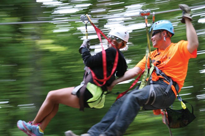 Try the zip-line at Aerie's Resort.