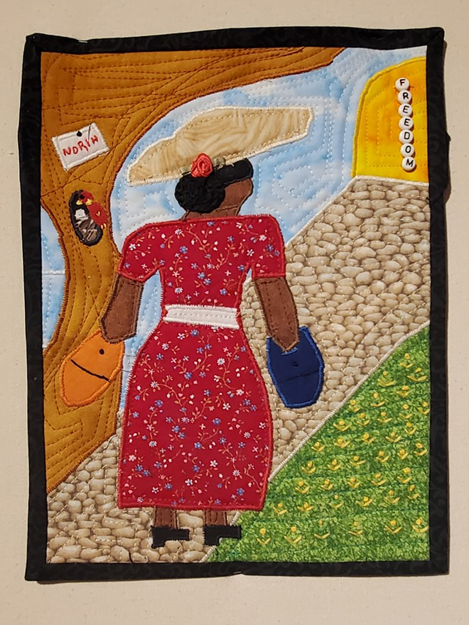 """A piece on display at the """"Ancestral Threads"""" exhibition, titled """"Heading North in the Springtime,"""" by Sherise Wright. - RACHEL OTWELL"""