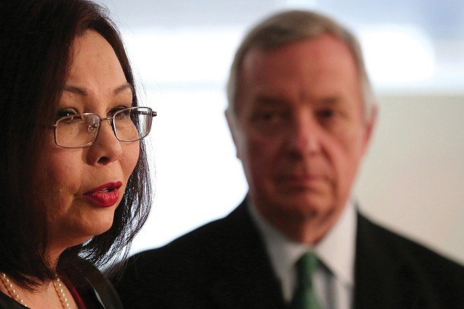 U.S. Sens. Tammy Duckworth and Dick Durbin, leaders in the political battle for the Biden administration's water infrastructure plan. - PHOTO BY ANTHONY SOUFFLE / CHICAGO TRIBUNE