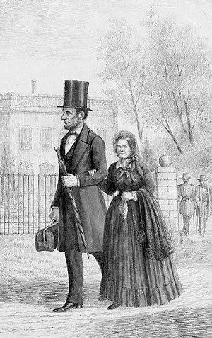 """The Lincolns strolling by the White House, drawing by Pierre Morand, 1864. Morand, a French businessman, met Lincoln in Washington during the Civil War and recalled that the president's """"features and movements impressed me so vividly, that I made several good sketches of him in various attitudes in June, 1864."""" There is no photograph of the Lincolns together, for the five-foot-two-inch First Lady did not want to be shown dwarfed by her six-foot-four-inch husband. - FROM THE NATIONAL PORTRAIT GALLERY, SMITHSONIAN INSTITUTION, WASHINGTON, D.C."""
