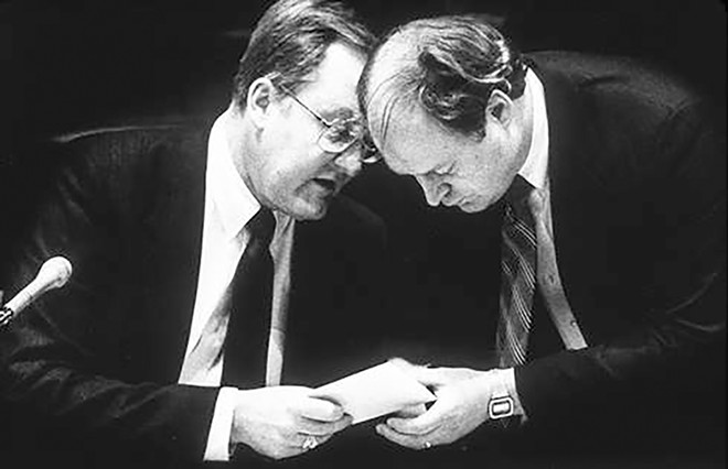 """With Governor Thompson convening the Senate in 1987. Stamp writes: """"This is the picture that convinced me the comb over just wasn't getting it done."""""""