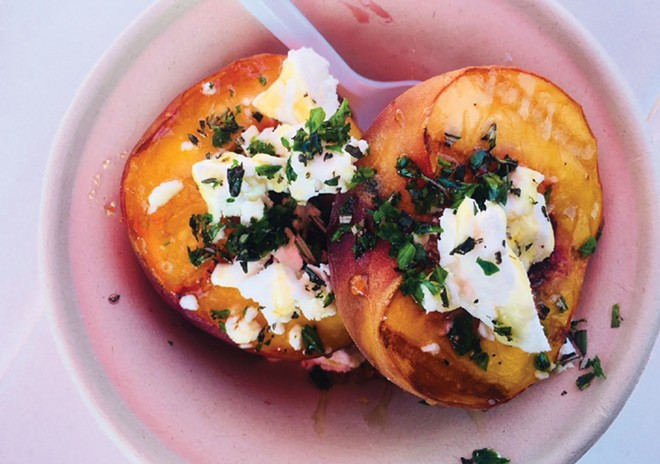Grilled Peach with Herbed Goat Cheese and a Honey Drizzle - CREDIT: ALEXANDRA MOTZ