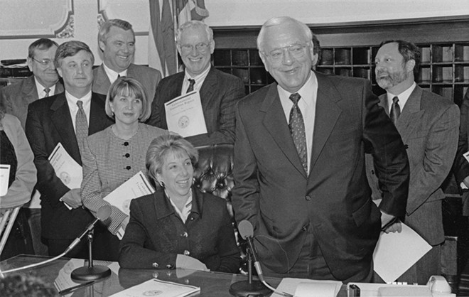 Gov. George Ryan during a bill signing. - PHOTO COURTESY ABRAHAM LINCOLN PRESIDENTIAL LIBRARY.