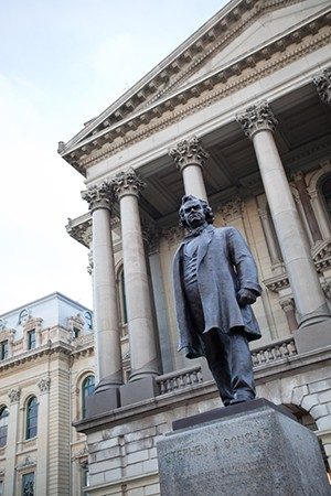 A statue of Stephen Douglas once stood in front of the east entrance to the Illinois State Capitol.  The statue was removed in 2020.