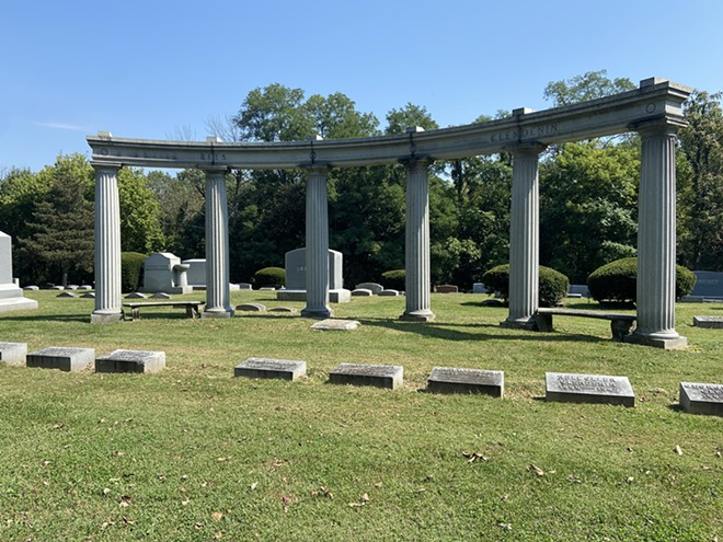 The grave of Thomas Rees, publisher of Springfield's Illinois State Register newspaper for more than 50 years, is among those buried near this Greek-columned memorial.