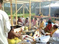 Elaborate three-day pooja services are conducted by Hindu priests before the temple can be considered sacred and ready for worship.