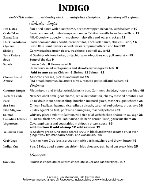 Curbside dining togo menu